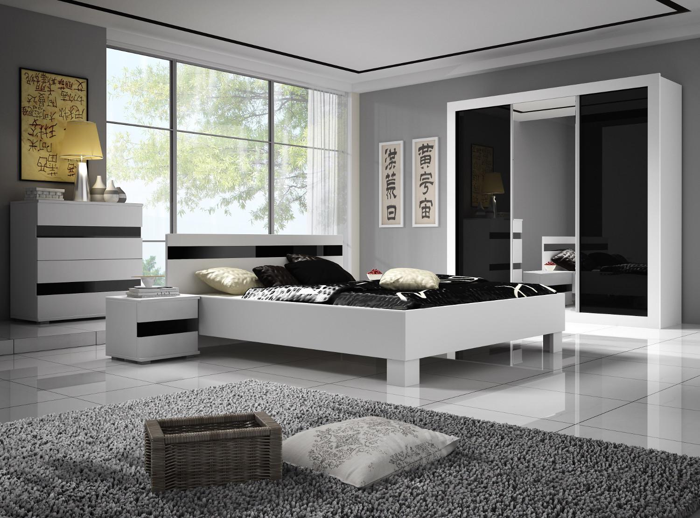 Kasvo LUCCA ložnice bílá / černý lesk