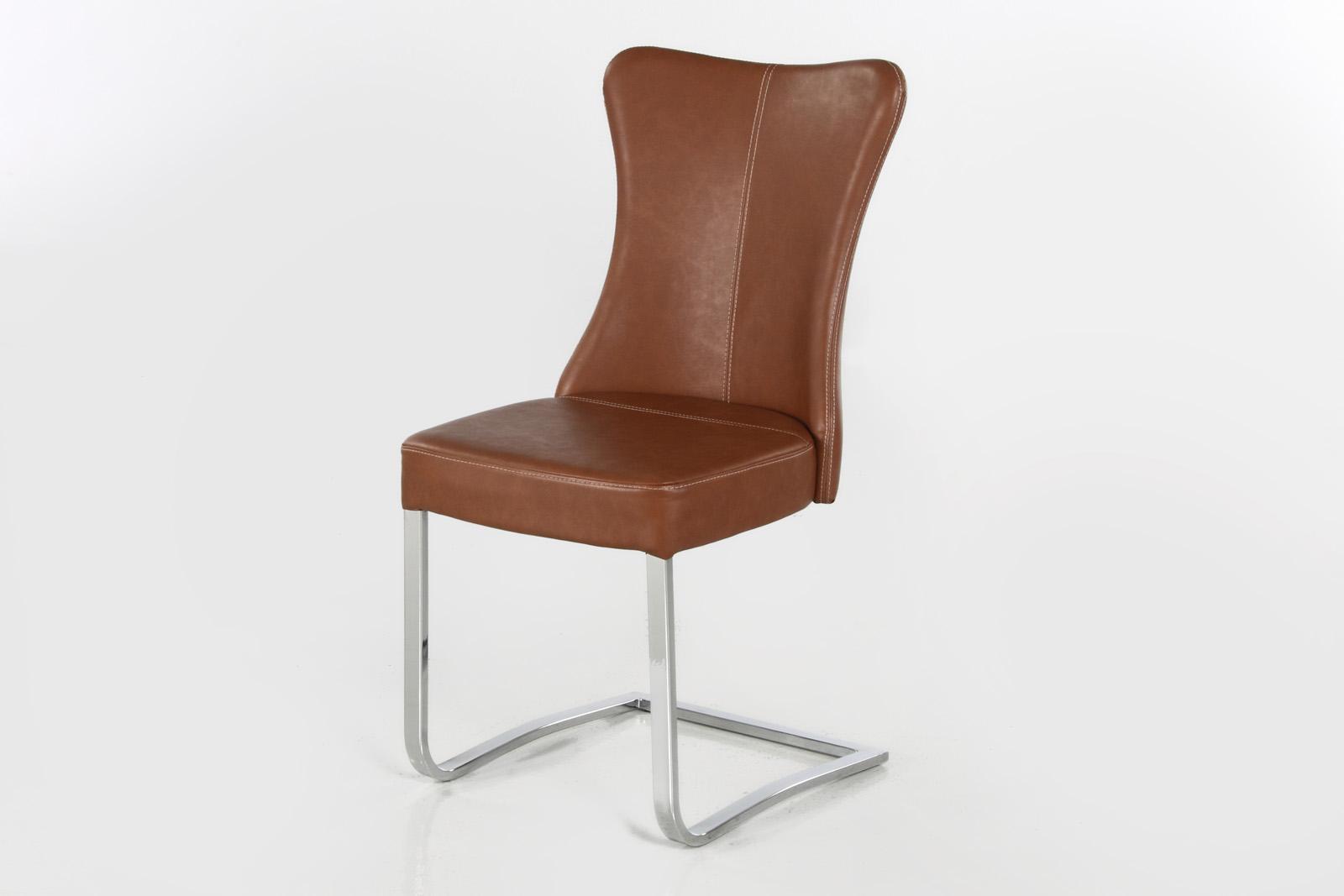 Kasvo DANA židle Chrom / ekokůže koňak