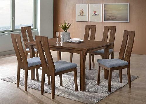 Jídelní stůl Oskar + Nela židle 1+4 ořech