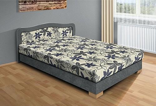 Čalouněná postel APOLLO 120 x 200 cm šedá/šedý květ