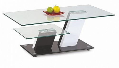 Konferenční stolek SAVANA MDF bílá / černá / sklo / chrom