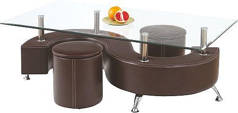 Konferenční stůl NINA 3  ekokůže hnědá / sklo / chrom