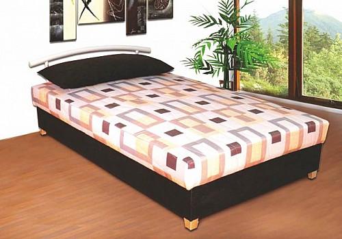 Menší čalouněná postel ALICE 120x200 cm vč. roštu, matrace a ÚP černá / šedá vzor
