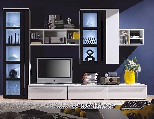 Obývací stěna MAGIC bílá/černá