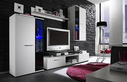 Obývací stěna SAMARA bílá / černá