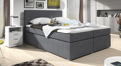Zvýšená postel SAM 140 cm vč. roštu, matrace a ÚP ekokůže bílá