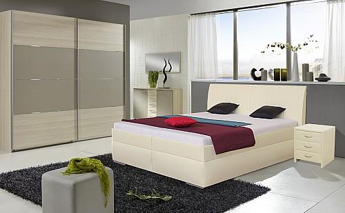 Prostorná čalouněná postel LIANA 2 180x200 cm vč. roštu a ÚP Ekokůže bílá