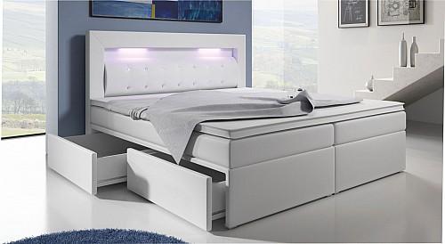Zvýšená postel CHARLOTTE III 140 cm vč. matrace, roštu a ÚP ekokůže bílá