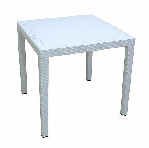 Zahradní stůl s imitací ratanu RATAN LUX  Bílá