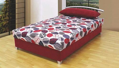 Čalouněná menší postel ANDY 140x200 cm vč. roštu, matrace a ÚP bordó mikro / vzor