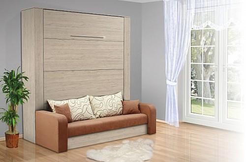 VS 1071P postel výklopná s pohovkou 160cm vč.roštu bílá