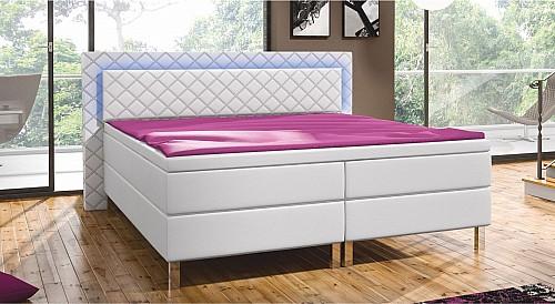 Luxusní manželská postel CARRY 160 cm vč. roštu, matrace  eko bílá