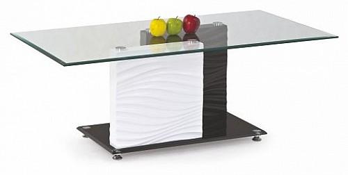 Konferenční stolek SHANELL MDF bílá / černá / sklo / chrom