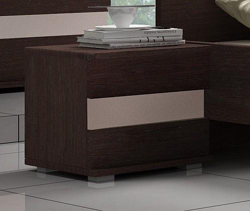 Moderní noční stolek do ložnice LUCCA dub Cambridge / cappuccino