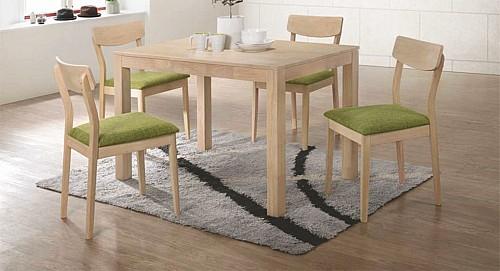 Jídelní set stůl VAŠEK + VANDA židle set 1+4 dub bělený / látka zelená green