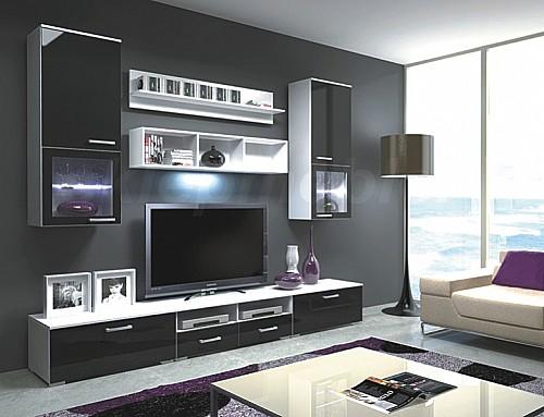 Obývací stěna FRANCO Bílá / Černá vysoký lesk