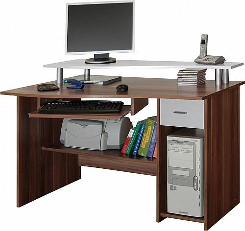 PC stůl LEON dub Sonoma / bílá
