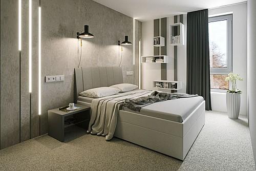 Zvýšená manželská postel BIBIANA 2 180x200 cm vč. roštu a ÚP eko bílá/šedá