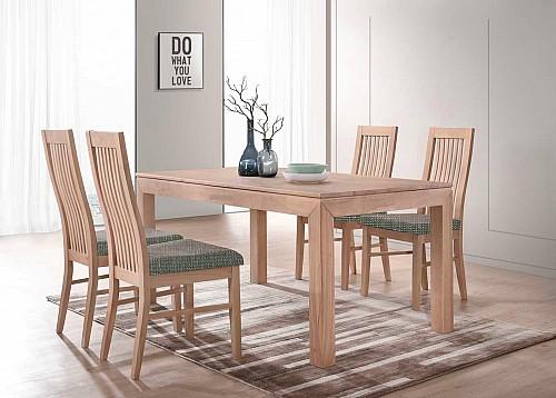 Jídelní stůl MORIS + LAURA židle 1+4 ořech / látka BZ4