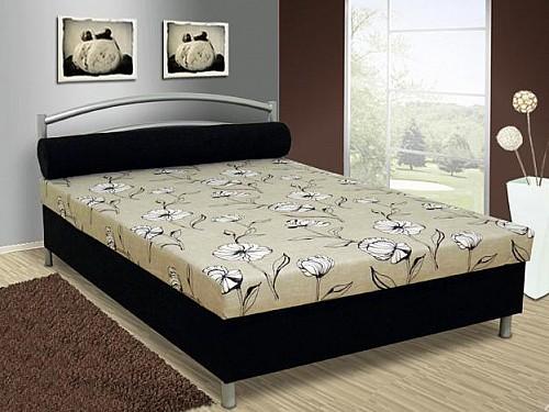 Čalouněná menší postel ANDY 140x200 cm vč. roštu, matrace a ÚP Šedá vzor / černá mikro