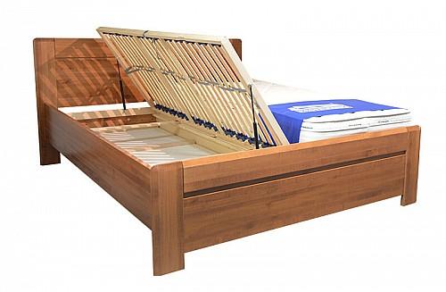 Postel ELZA 2 180x200 dřevěná vč. roštu a ÚP Dub (ořech světlý)