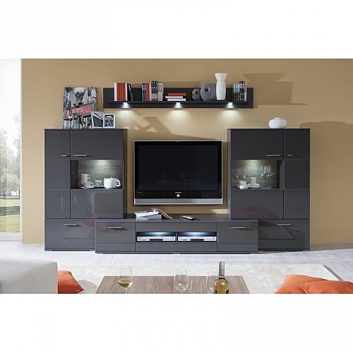 Luxusní obývací stěna THREE K35 Grafit lesk