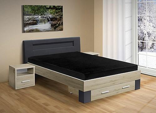 Moderní postel MEADOW 120x200 cm vč. roštu a matrace sonoma