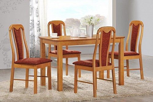 Jídelní stůl NILO + židle JANA 1+4 Olše světlá