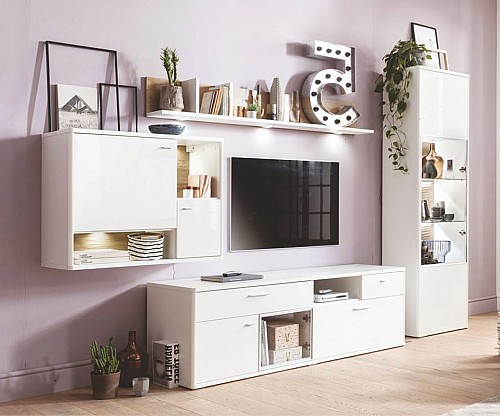 Prostorná obývací stěna LEONA  bílá/b.lesk/dub