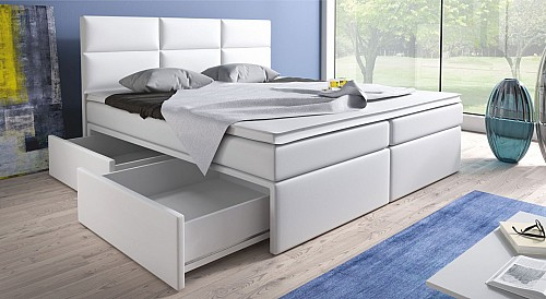 Zvýšená postel MIRANDA 140 cm vč. roštu, matrace a ÚP ekokůže bílá