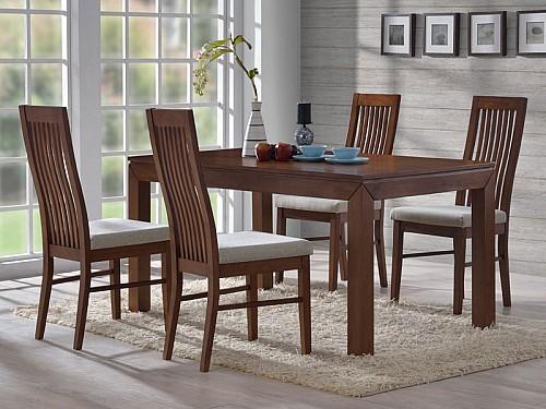 Jídelní stůl MORIS + LAURA židle 1+4 ořech
