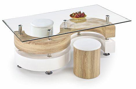 Konferenční stolek NINA 4 MDF dub Sonoma / sklo / bílá / chrom