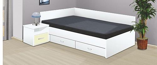Manželská postel RENÁTA 200x160 vč. roštu, matrace a ÚP bílá