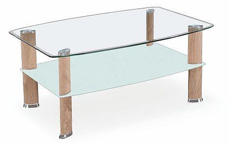 Konferenční stolek ASTRA dub Sonoma / sklo / mléčné sklo / chrom
