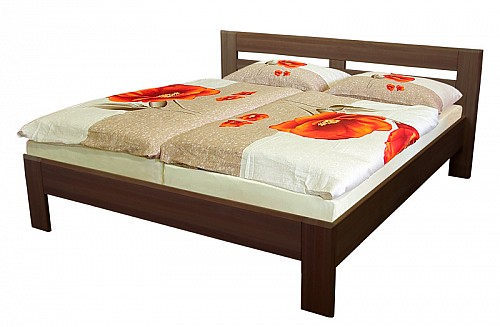 Masivní manželská postel EMILY 180 x 200 cm  tmavý ořech