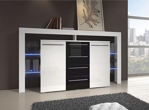 Moderní TV stolek RIVA II PLUS  bílá lesk/černá