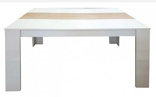 Jídelní stůl COSTA 160 bílá/ olše pruh