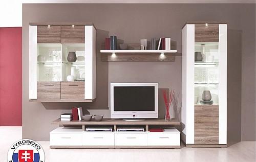 Elegantní obývací stěna QUEENS  bílá lesk/bardolino