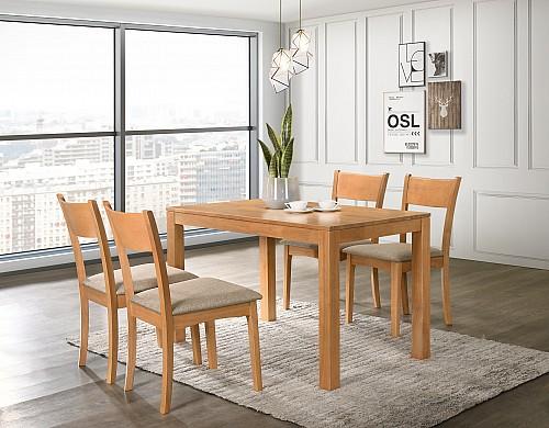 Jídelní stůl VAŠEK + židle VILMA 1+4 olše/ látka Sand