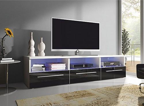 Moderní TV stolek RTV 2  bílá lesk/bílá