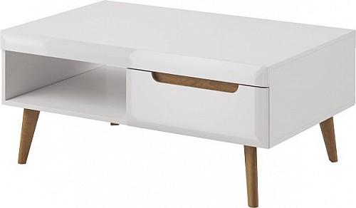 Konferenční stůl NORTH NL107 bílá lesk/dub r