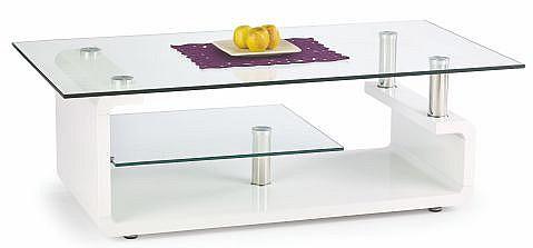 Konferenční stolek CYNTHIA MDF bílá vysoký lesk / sklo / chrom
