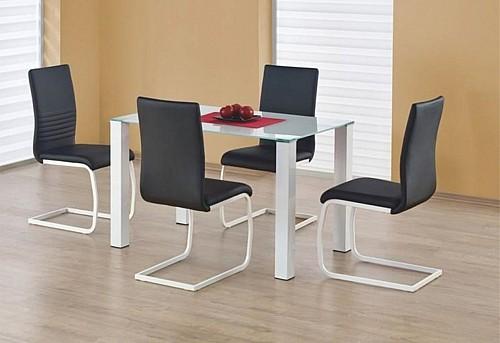 Obdélníkový bílý jídelní stůl MERLOT  Sklo / bílá