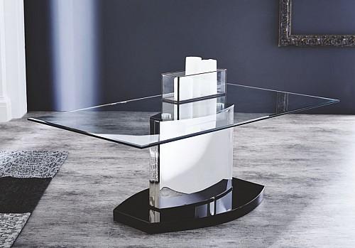 Konferenční stolek HUSUM  bílá/černé sklo