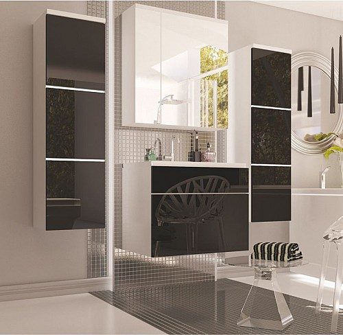 Koupelnová sestava PORTO bílá/černý lesk