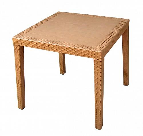 Zahradní stůl s imitací ratanu RATAN LUX  Okrová