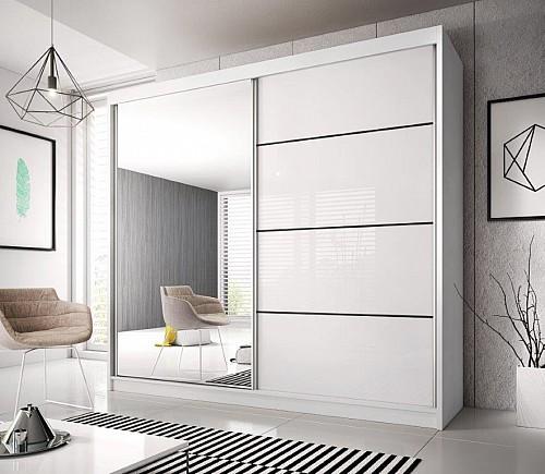 Šatní skříň MULTI 35 203 cm bílá / dveře bílé lamino
