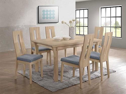 Jídelní stůl Oskar + Nela židle 1+4 bělený dub