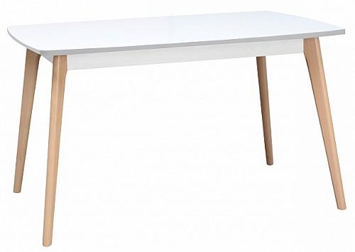 Jídelní stůl EMILIO - pevný Bukové nohy/ deska bílá arctic