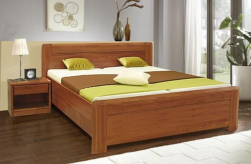 Masivní lakovaná manželská postel ELZA 2 180x200 vč. roštu a ÚP buk